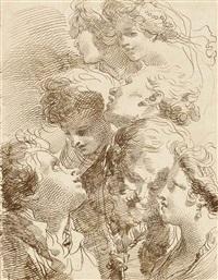 seven studies of heads by mauro gandolfi