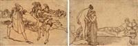 ulysses terrified by the ghosts (+ venus presenting helen to paris; pair) by john flaxman