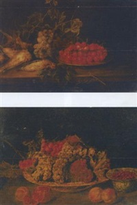 a pewter platter of cherries, grapes on the vine and dead song birds on a ledge by pieter van overschee