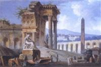 paysage classique avec ruines et paysans autour d'une fontaine by jacques michel denis lafontaine