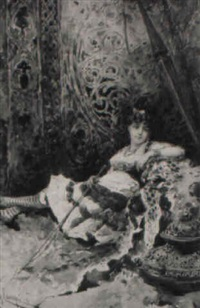in repose: young woman reclined beside a leopard skin by giacomo campi