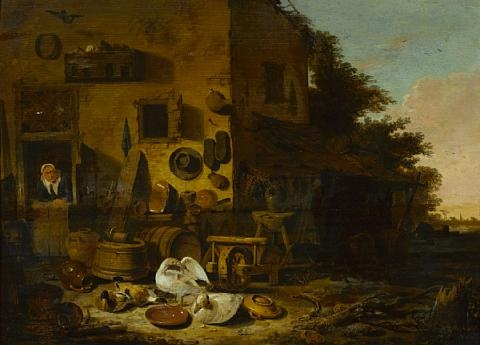 a kitchen maid at the doorway of a farmhouse with ducks and geese in the foreground by egbert lievensz van der poel