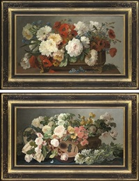 poppies, daisies, peonies and cornflowers in a rectangular jardinière (+ another; pair) by c. julliard
