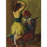 harlequin and dancer and seated woman : a double-sided work by iosif iser