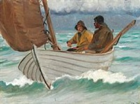 two fishermen from skagen in a sailing boat off the coast by michael peter ancher
