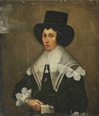portrait of a lady in a black dress with lace cuffs, a black hat and pearl earrings, a letter in her right hand by edward bower