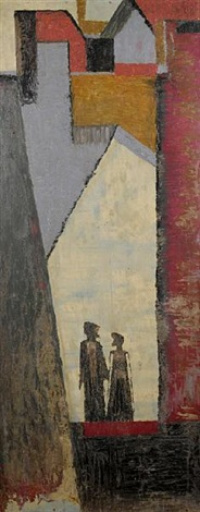 couple with buildings by jimo akolo