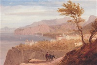 a traveller with his donkey, on a mediterranean coastline by william linton