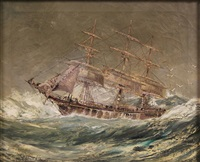 ship on rough seas by robert j. lie