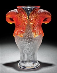 macao frosted amber and clear crystal vase by rené lalique