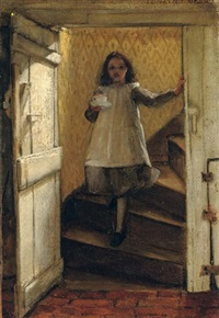 girl on the stairs by laura theresa alma-tadema