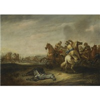 a cavalry battle by abraham van der hoef
