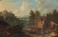 scène de village près d'un plan d'eau by marc baets