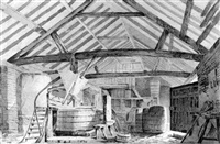a brewery at north mimms place by john claude nattes