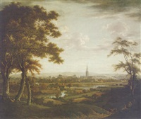 prospect of salisbury with harnham bridge and the river avon by tobias young