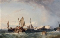 bateaux rentrant au port by eugène modeste edmond le poitevin