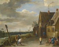 peasants playing nine-pins outside an inn, the city of antwerp in the distance by david teniers the younger