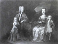 portrait of a gentleman with his wife and children by willem verelst