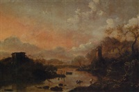 an evening italianate landscape with peasants crossing a river, fishermen drawing in their nets nearby by hans de jode