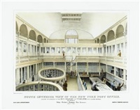 south interior view of the new york post office by endicott & co. (printers)