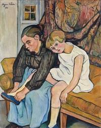 grand-mère chaussant une fillette by suzanne valadon