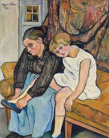 grand mère chaussant une fillette by suzanne valadon