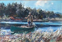 man standing in canoe by john whorf