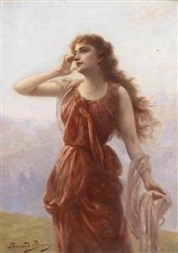 eine junge rotgekleidete frau mit sehnsuchtsvollem blick by edouard bisson