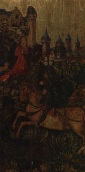 hl. georg vor der stadt, die on einem drachen bedroht wird, davor die kniende königstochter, die dem drachen geopfert werden soll by austrian school (15)
