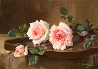 two pink prince-de-bulgarie roses by frans mortelmans