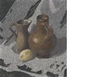 two brown jugs by john armstrong