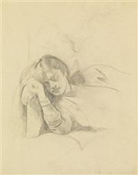 étude pour le rêve ii (recto); étude pour la guitare (verso) by balthus