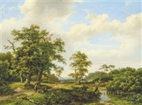 a rest at the brook by marinus adrianus koekkoek the elder