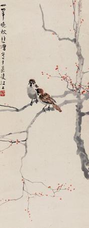 双雀 twin sparrows by xu beihong