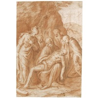 the lamentation with saint catherine of alexandria, gabriele quintiano and possibly the prophets elijah and elisha by bernardino campi