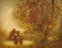 wooded landscape with oxen watering by louis paul dessar