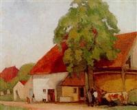 paysans devant une ferme by charles emmanuel jodelet