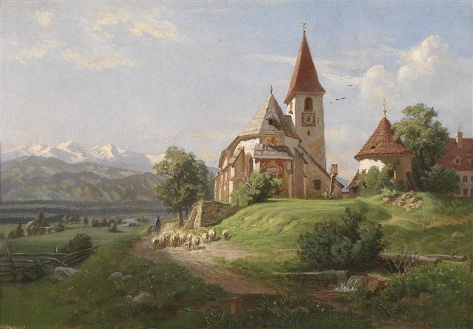 idyllische voralpenlandschaft by german school southern 19