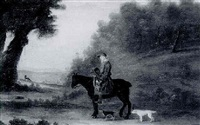 study of arthur wentworth, earthstopper, of bulmer, on his pony with dogs in a yorkshire landscape by nathan drake