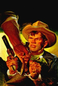 cowboy pointing pistol at handcuff breaker by harold winfield scott