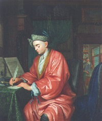 a doctor working in his study, an assistant preparing medicine beyond by christoffel lubieniecki
