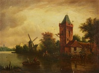 river landscape with tower and mill by dutch school (18)