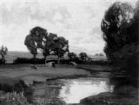 cattle grazing by a river by emily g. court