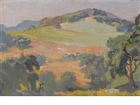 oaks in a hillside landscape by franz arthur bischoff