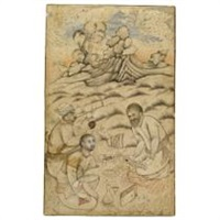 three dervishes conversing in a landscape by muhammad qasim
