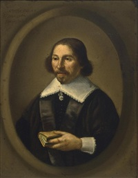 a portrait of a gentleman, aged 48, half length, wearing a black coat with white lace cuffs and collar, holding a book, in a painted oval by isaack jacobsz. van hooren