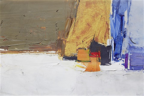 composition, blue, orange and ochre by donald hamilton fraser