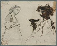 etude de femme et étude d'homme tenant une coupe by jean-baptiste-camille corot