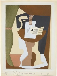 guitare et partition sur guéridon (guitar and partition on pedestal), from dix pochoirs by pablo picasso