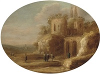 an italianate landscape with christ healing the blind by jan christiansz micker